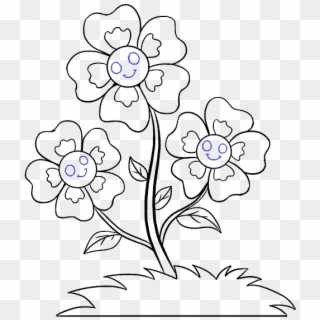 Vector Transparent Download Blue Flowers Drawing At Easy Small Flower Drawings Clipart 3167482 Pikpng