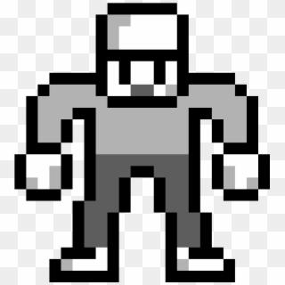 Grayscale Buff Man Pixel Art Burger Clipart 4534973